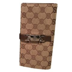 Gucci Monogram Canvas and Brown Leather Wallet