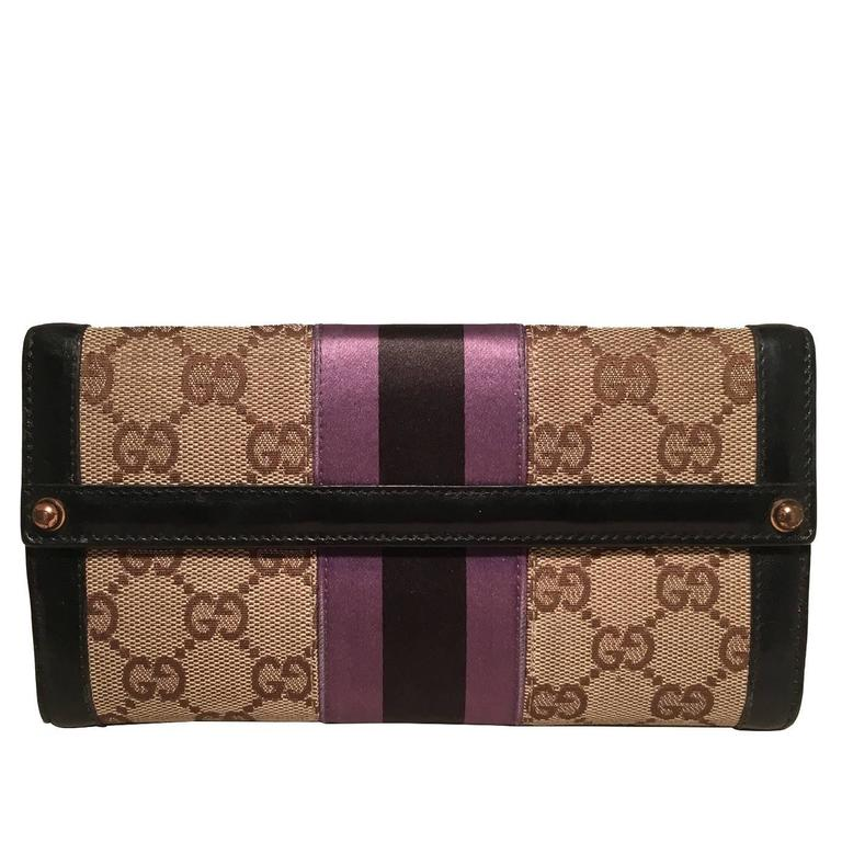 Gucci Monogram Black and Purple Leather and Satin Wallet  1
