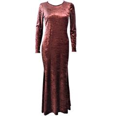 MARLY THOMAS Copper Stretch Long Sleeve Velvet Maxi Dress Size 4 6
