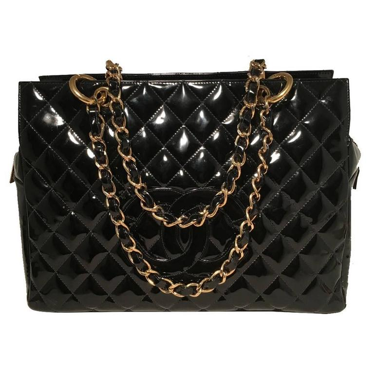 Chanel Black Quilted Patent Leather Shopper Tote Shoulder Bag 1
