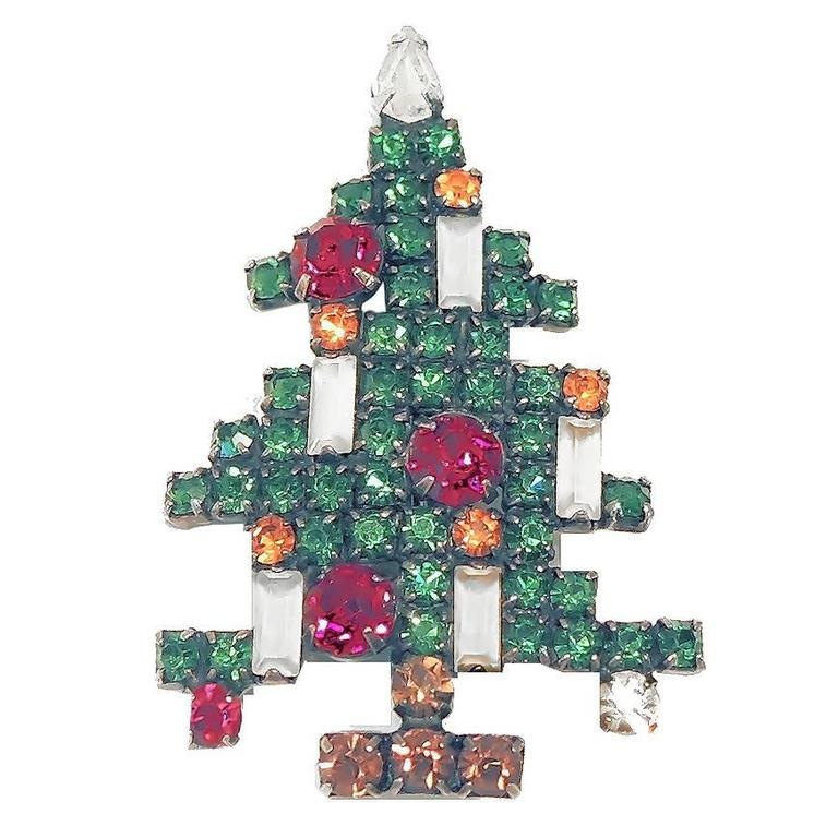 Vintage Weiss 5 Candle Christmas Tree Brooch At 1stdibs
