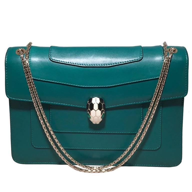 Bulgari Jade Green Leather Jeweled Snake Head Clasp Shoulder Bag For Sale