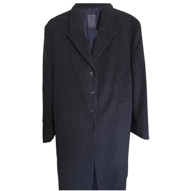 Loro Piana Dark Grey Wool Longline Coat For Sale