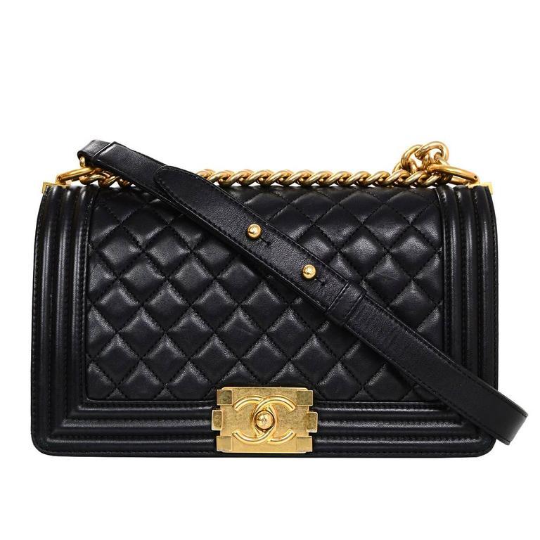 Chanel Black Lambskin Old Medium Boy Bag For