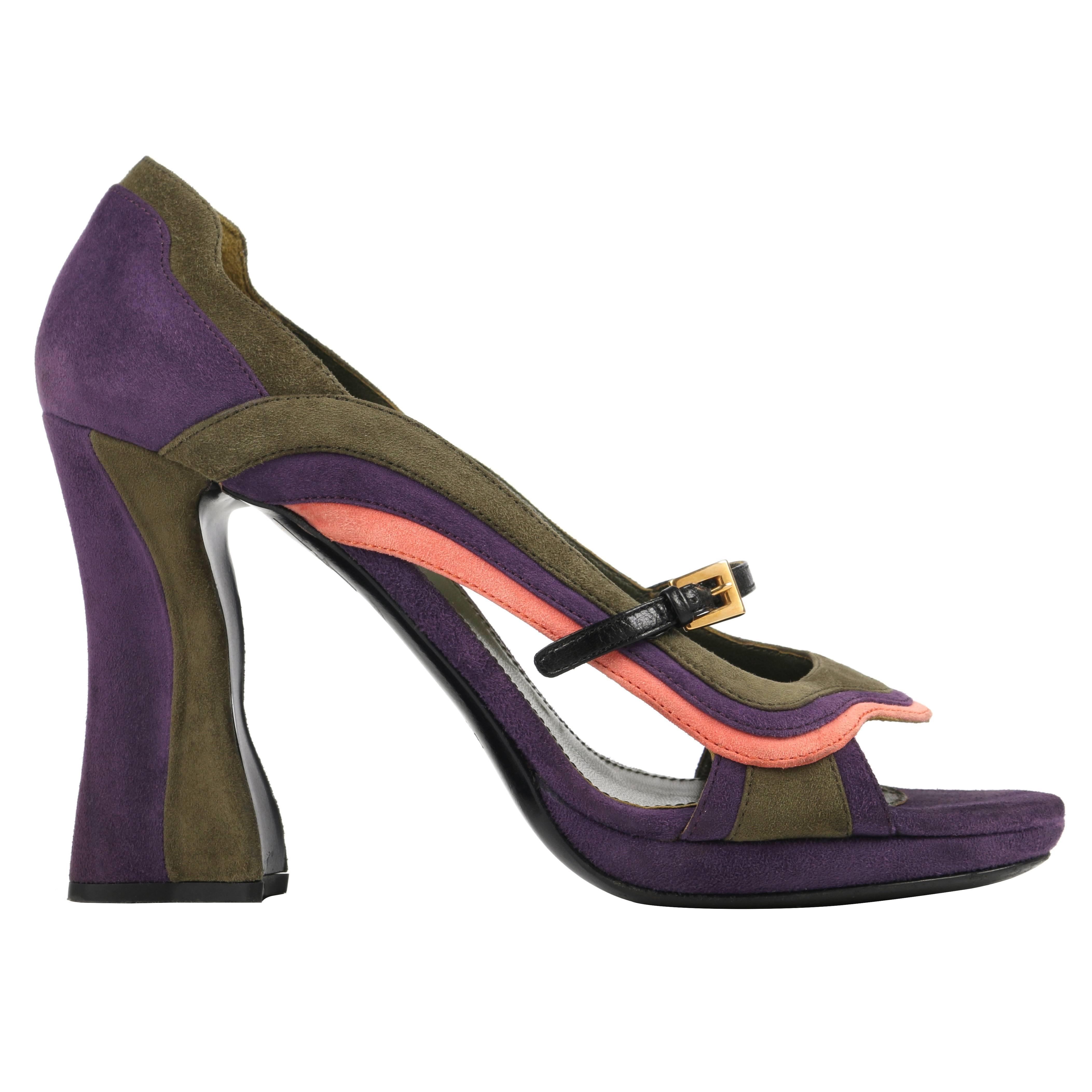 "PRADA Fairy Collection S/S 2008 ""Wave"" Color-Block Suede Pumps Heels Shoes"