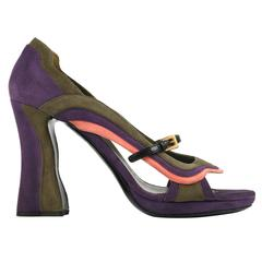 "PRADA Fairy Collection S/S 2008 ""Wave"" Color-Block Suede Pumps Heels Shoes"