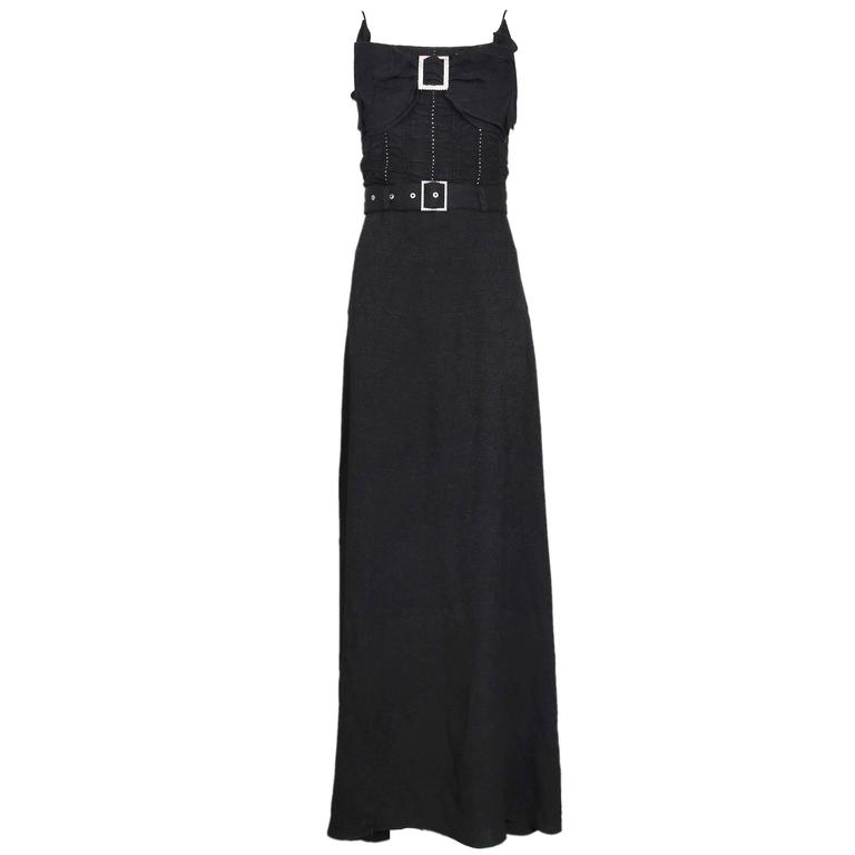 John Galliano 1940s Inspired Black Evening Dress w/Decorative Bow & Rhinestones  For Sale