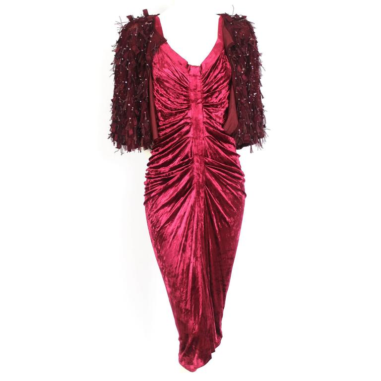 John Galliano Velvet Dress and Knitted Beaded Contrasting Jacket