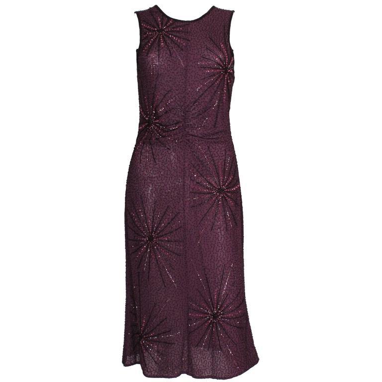 Tomsaz Starzewski Aubergine Beaded Cocktail Dress