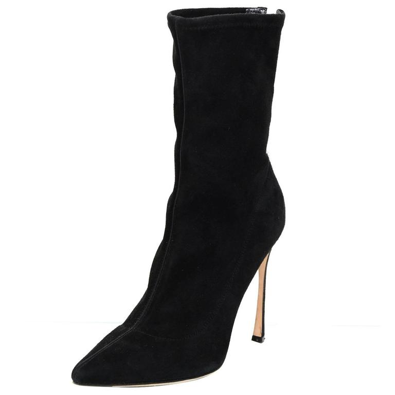 sergio black suede point toe boots w back