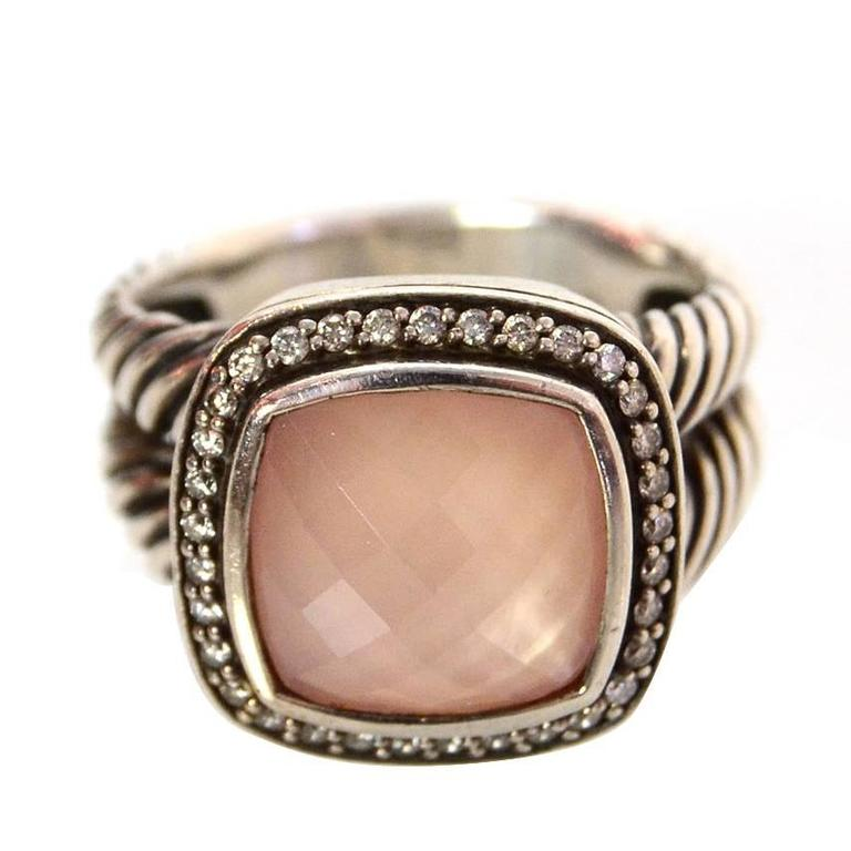 f69921f3f6d68 David Yurman Sterling and Rose Quartz Albion Ring with Diamonds Sz 8