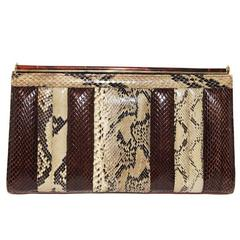 Unique & stylish python/snake 80s clutch/bag