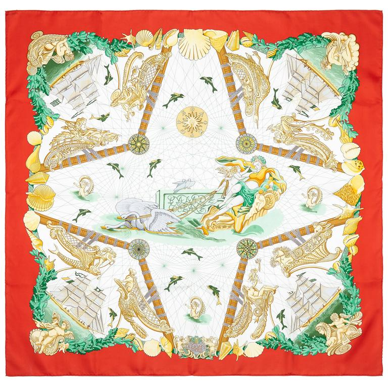1990s 'Balade Oceane' Hermes Silk Scarf Only Issue