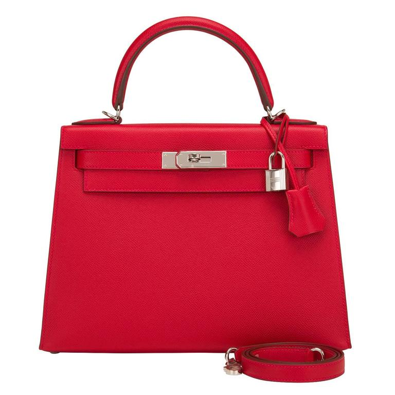 Hermes Rouge Casaque Epsom Sellier Kelly 28cm Palladium Hardware For Sale
