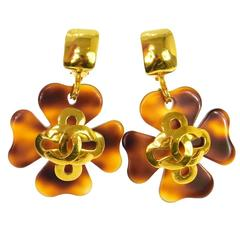 Chanel Vintage Gold Brown Clover Large Evening Dangle Drop Statement Earrings