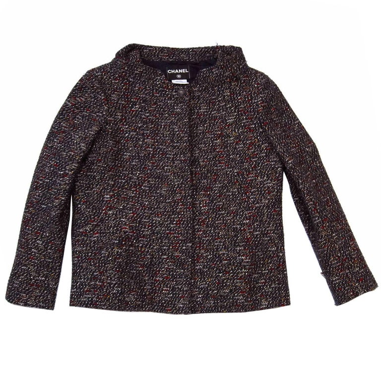 Chanel Fall '13 Runway Red & Navy Wool Jacket sz FR48
