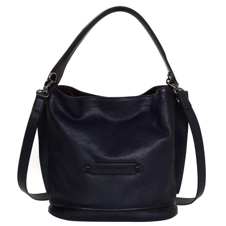 Longchamp Navy Leather 3D Bucket Bag w  Crossbody Strap rt.  595 For Sale  at 1stdibs b8f90a7c1c124