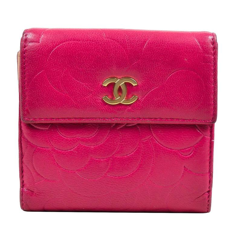 Chanel Berry Pink Lambskin Leather Floral Embossed