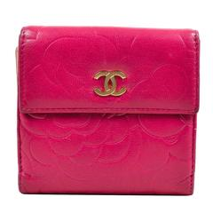 """Chanel Berry Pink Lambskin Leather Floral Embossed """"Camellia"""" Compact Wallet"""