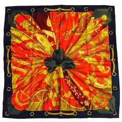 1995 Hermes Soleil de Soi Silk Twill Scarf by Artist Caty Latham