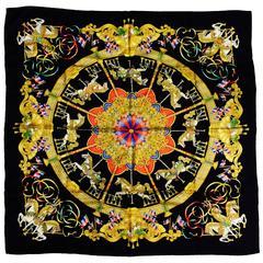 Hermes Black Luna Park Silk Jacquard Carre by Joachim Metz