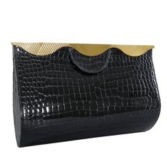 Hermes Vintage 1998 Limited Edition Black Crocodile Clutch with Gold Frame