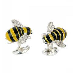 Bumble Bee Silver Enamel Cufflinks by Deakin & Francis