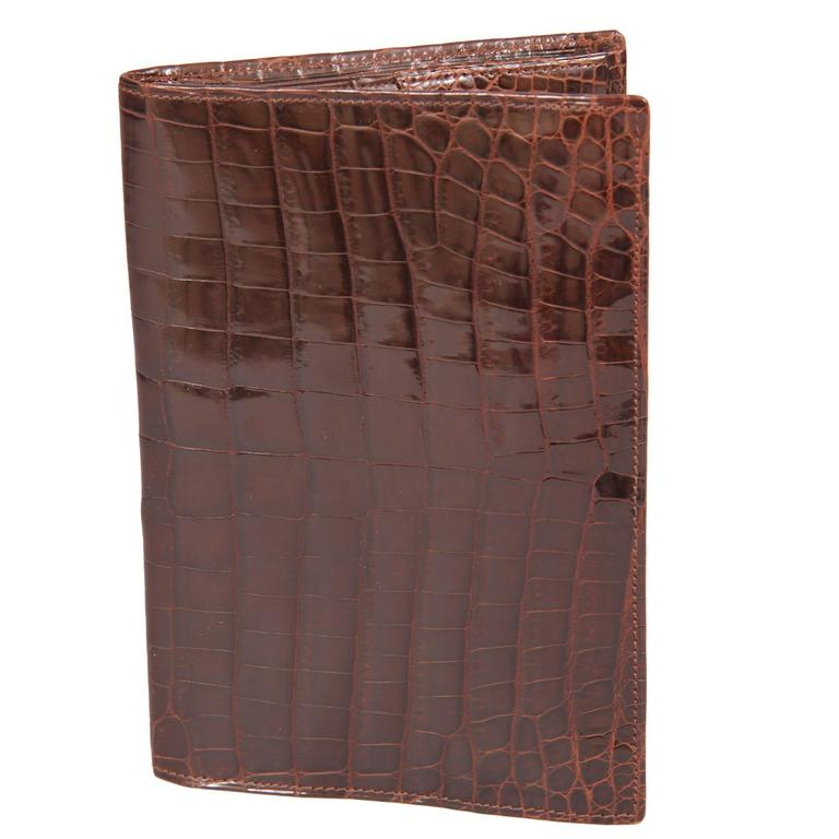 Gents Mid Century Brown Crocodile Wallet Never Used
