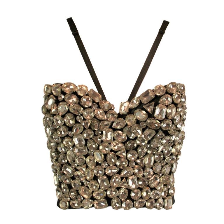 F/W 1991 Dolce & Gabbana Crystal Bustier Bra Halter Crop Top XS For Sale