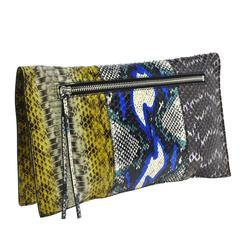 Balenciaga Multi Color Snakeskin Fold Over Envelope Evening Flap Clutch Bag