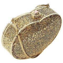 Gold Judith Leiber Embellished Heart Clutch