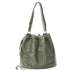 Green Hermes Ostrich Bucket Bag