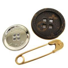 Louis Vuitton Monogram Metal Men Three-Piece Safety Pin Button Brooch Set in Box