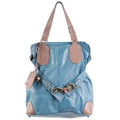 CHLOE Turquoise & Taupe Leather KERALA BAG Slouchy TOTE Handbag