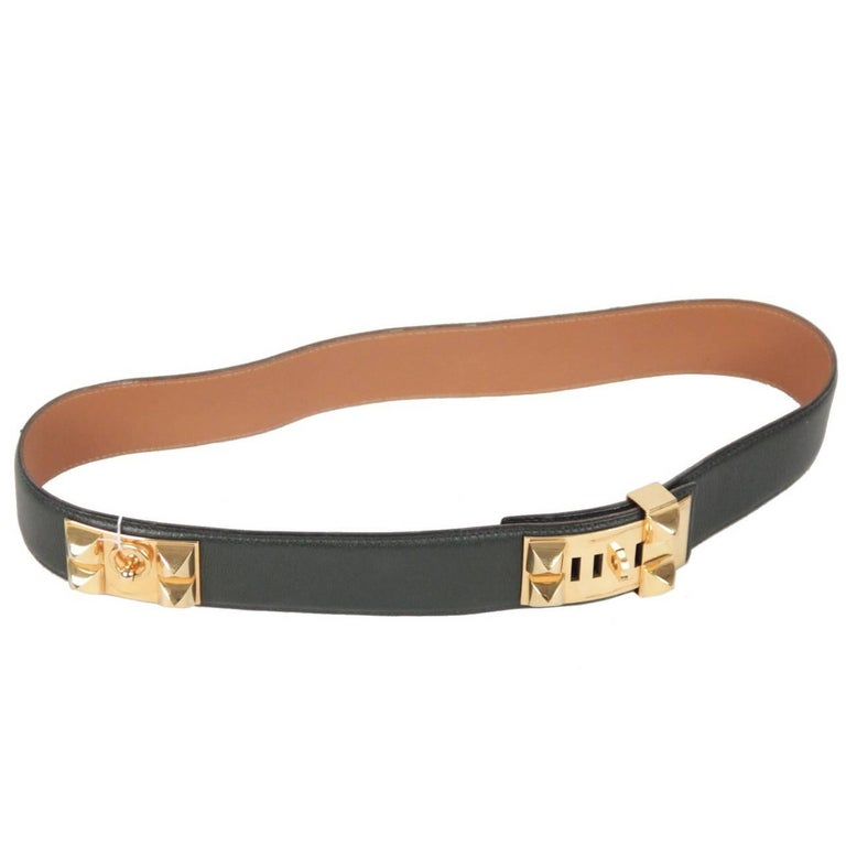Hermes Green Leather Collier de Chien CDC Medor Belt Size 74 For Sale