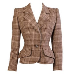 Givenchy Numbered Haute Couture Brown and Camel Wool Plaid Fitted Jacket
