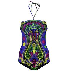New VERSACE Blue Barocco Printed swimsuit