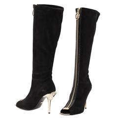 New VERSACE Knee High Black Suede Boots with gold Medusa heel and open toe