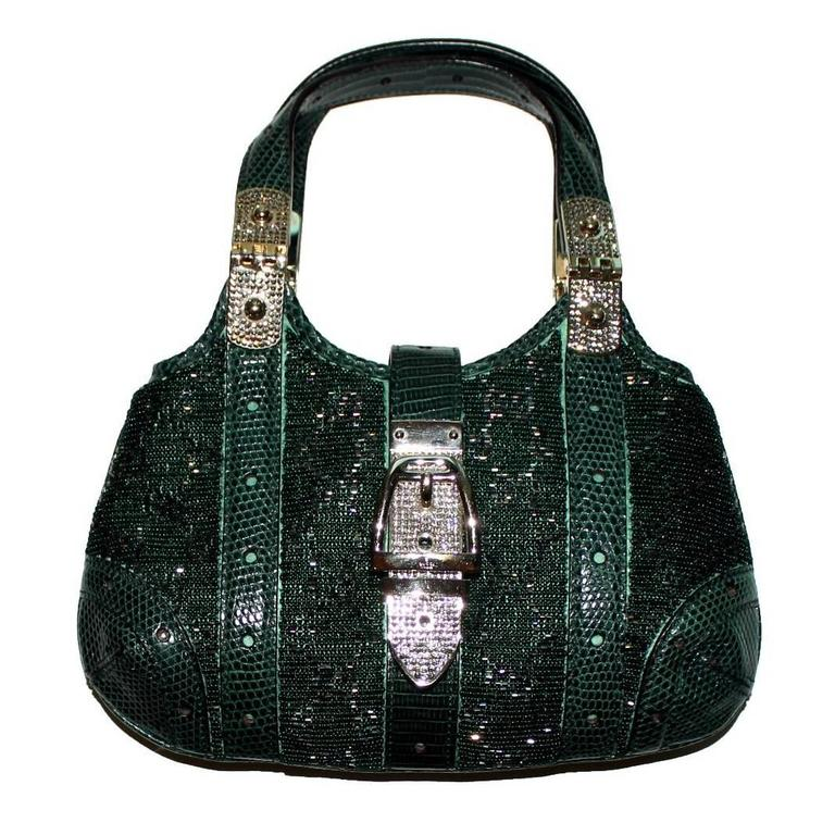 9146d85d5f82 Limited Edition! Gorgeous Gucci GG Monogram Beaded Crystal & Lizard Skin Bag