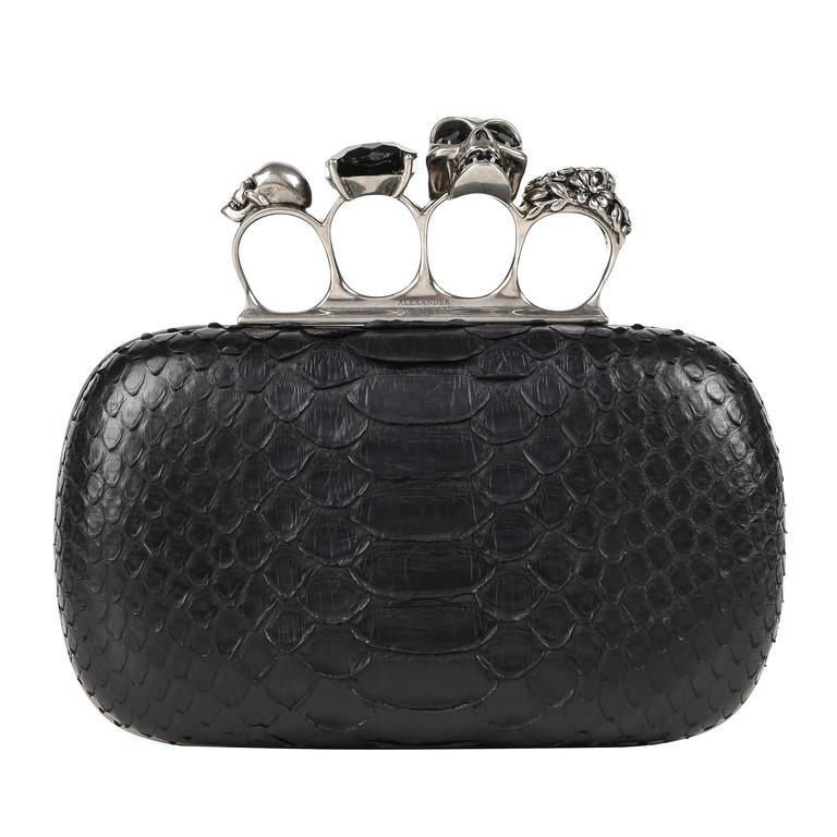ALEXANDER MCQUEEN S/S 2010 Black Genuine Python Skull Knuckle Duster Box Clutch For Sale