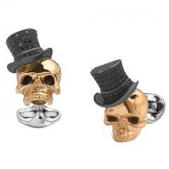 Skull in Top hat black spinel encrusted cufflinks by Deakin & Francis