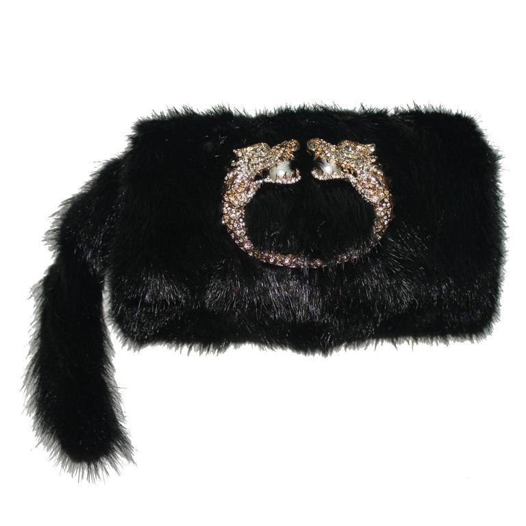 Gucci Tom Ford Dragon Pearl Jeweled Mink Fur Purse Clutch For Sale