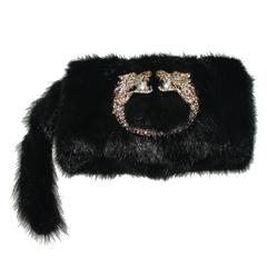Gucci Tom Ford Dragon Pearl Jeweled Mink Fur Purse Clutch