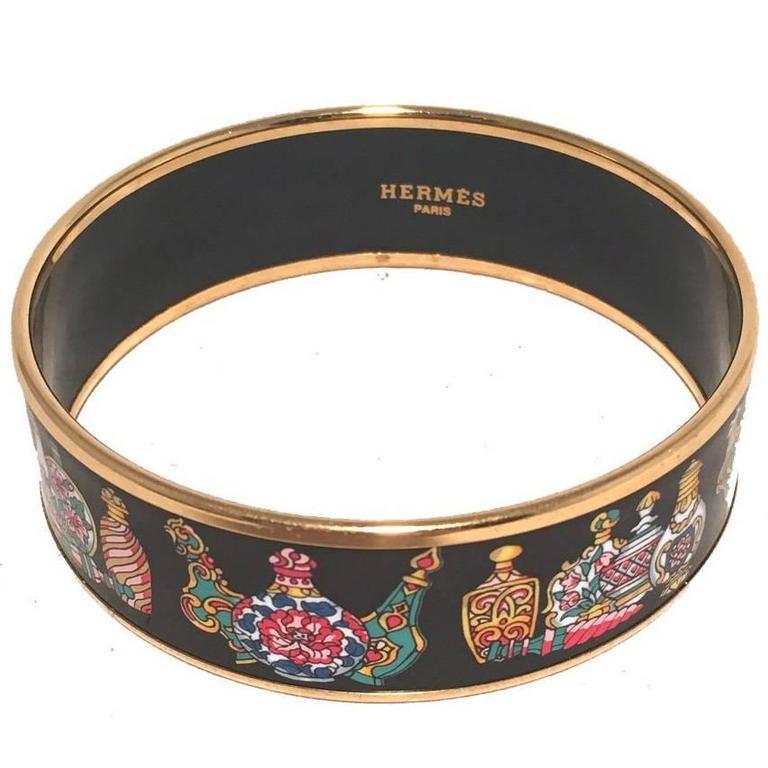 Hermes Gold Perfume Bottle Print Medium Enamel Bangle Bracelet For