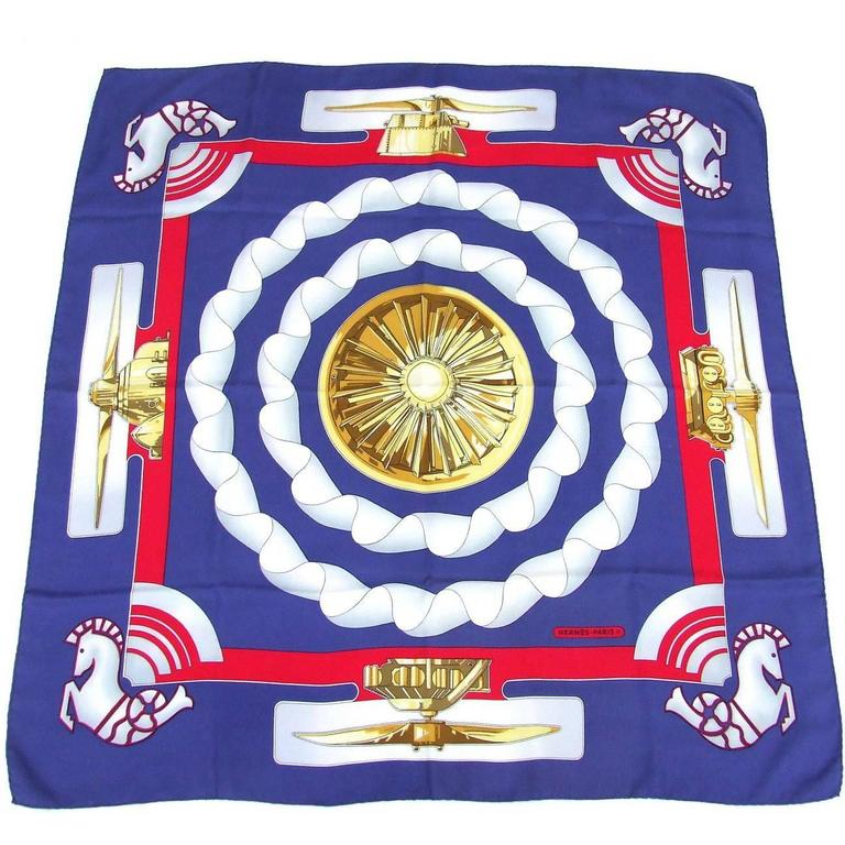 Hermes Collector Rare Silk Scarf Sold only in Air France Planes 90 cm
