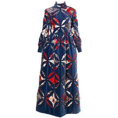 1970s Quilted Velvet Dress
