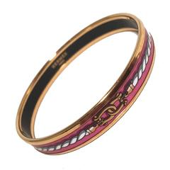 Hermes Gold Pink Rope Print Enamel Thin Bangle Bracelet