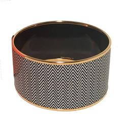 Hermes Gold Black and White Zig Zag Enamel Print Large Bangle Bracelet
