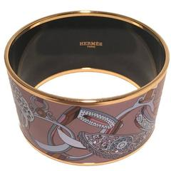 Hermes Purple Gold Bridal Horse Equestrian Enamel Bangle Bracelet