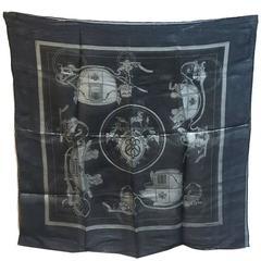 Hermes Navy Blue Silk Shimmering Sheer Lurex Small Scarf Handkercheif